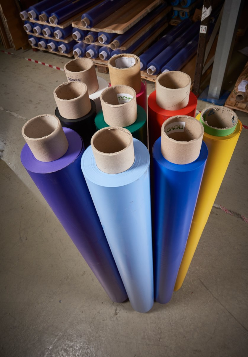 Plastic material rolls in a selection of colours